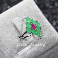 Elegant White Gold Plated Micro CZ Diamond Paved Natural Emerald Green Stone Engagement Rings For Women R077
