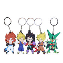 5pcs/lot Dragon ball Z Super Saiyan 3 Goku Cell vegeta Gohan Frieza keychain set figurine Toy(China)