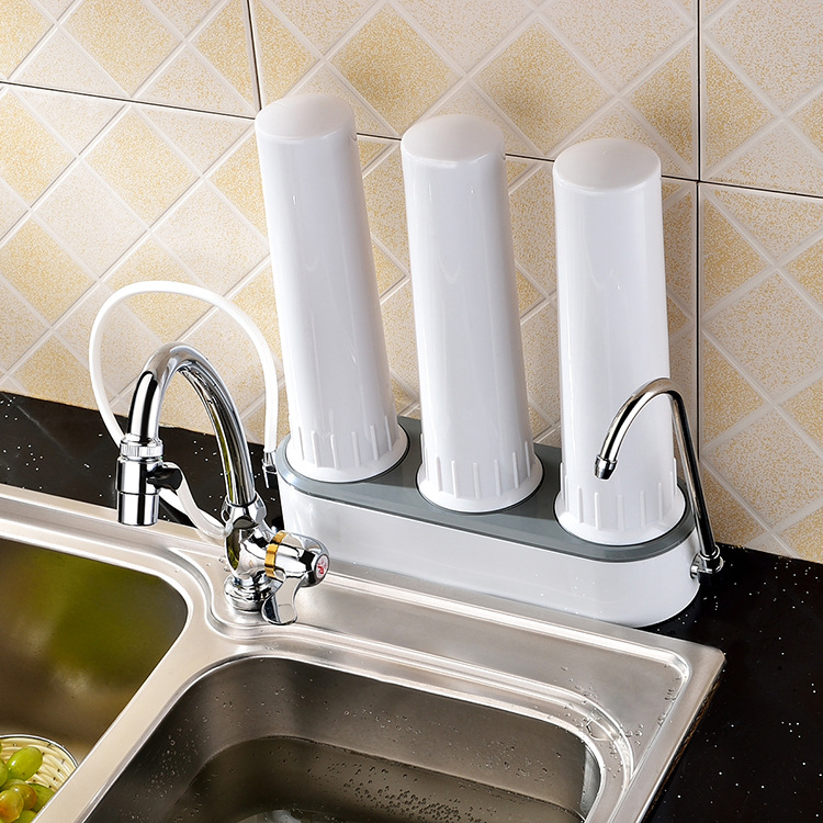 US $31.0 |3 stages countertop water purifier/tap water filter/kitchen water  solution/home drinking water treatment+univeral tap connector-in Water ...