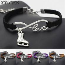 Casual Simple Antique Silver Love Infinity Ice Figure Skating Boots Shoes Charm Pendant Leather Bracelets Best Gift for Women(China)