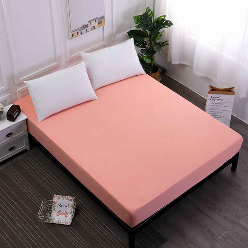 100%Polyester Fitted Sheet Mattress Cover Solid Color Bed Linen With Elastic Band King Size Bedding Set Mattress Protector Pad