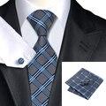Hi-Tie C-400 Mens Ties Set Rayó la Tela Escocesa de Seda Corbata Hanky Gemelos Para El Banquete de Boda de Negocios Hombre de La Moda Gravatas Corbatas