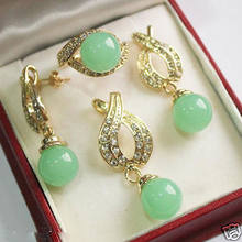 Jewelry Fashion 12mm Green jade Pendant Necklace Earrings Ring Set 5.23(China)
