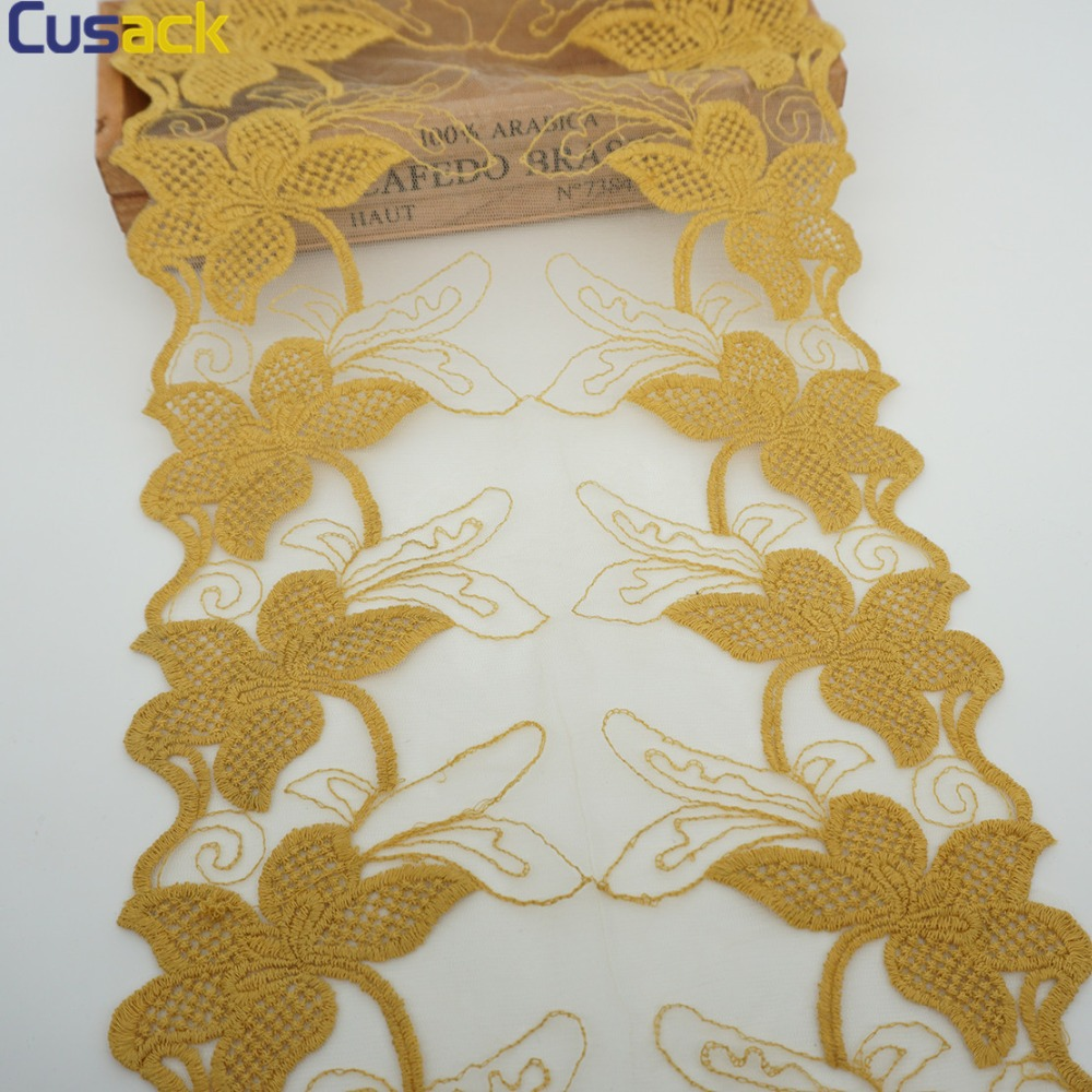 Cusack 3 yardy 22,5 cm Květina Krajka Trim Mesh Vyšívaná Bavlna - Umění, řemesla a šití