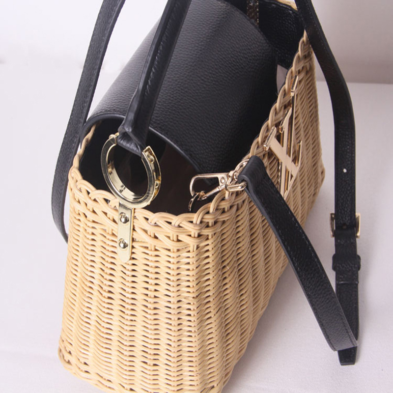 Image 4 - Womens rattan handbag luxury Messenger bag genuine leather handmade rattan weaving 2019 summer beach bags for women sac mainTop-Handle Bags   -
