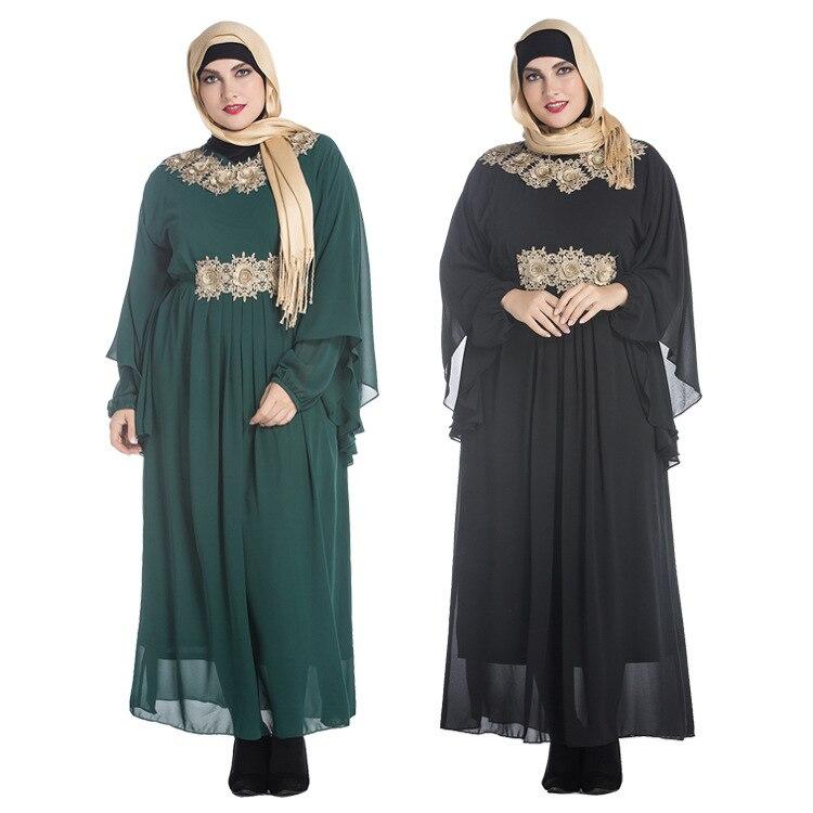 Nouveauté musulmane en mousseline de soie broderie longue robe pour les femmes malaisie abayas à dubaï turc vêtements de haute qualité slim taille