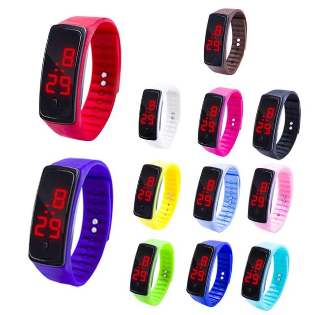 SALE 12 Colors LED Digital Display Bracelet Watch Children's Students Silica Gel