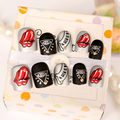 24pcs Fake Nails Decoration Faux Ongles Full Nails Tips Art Decal DIY Manicure Punk Style for Girls Lady Party Prom