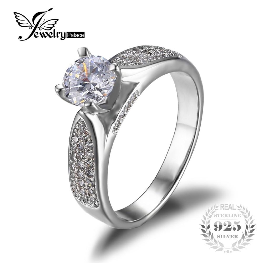 1 32ct Gem 100 Pure 925 Silver Wedding Engagement Ring Set