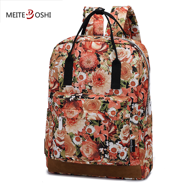 MEITEBOSHI Floral Print 14-Inch Travel Laptop Backpack | Women Elegant School Bag Female Fashion Casual Daypack Bag 14 15 15 6 inch flax linen laptop notebook backpack bags case school backpack for travel shopping climbing men women