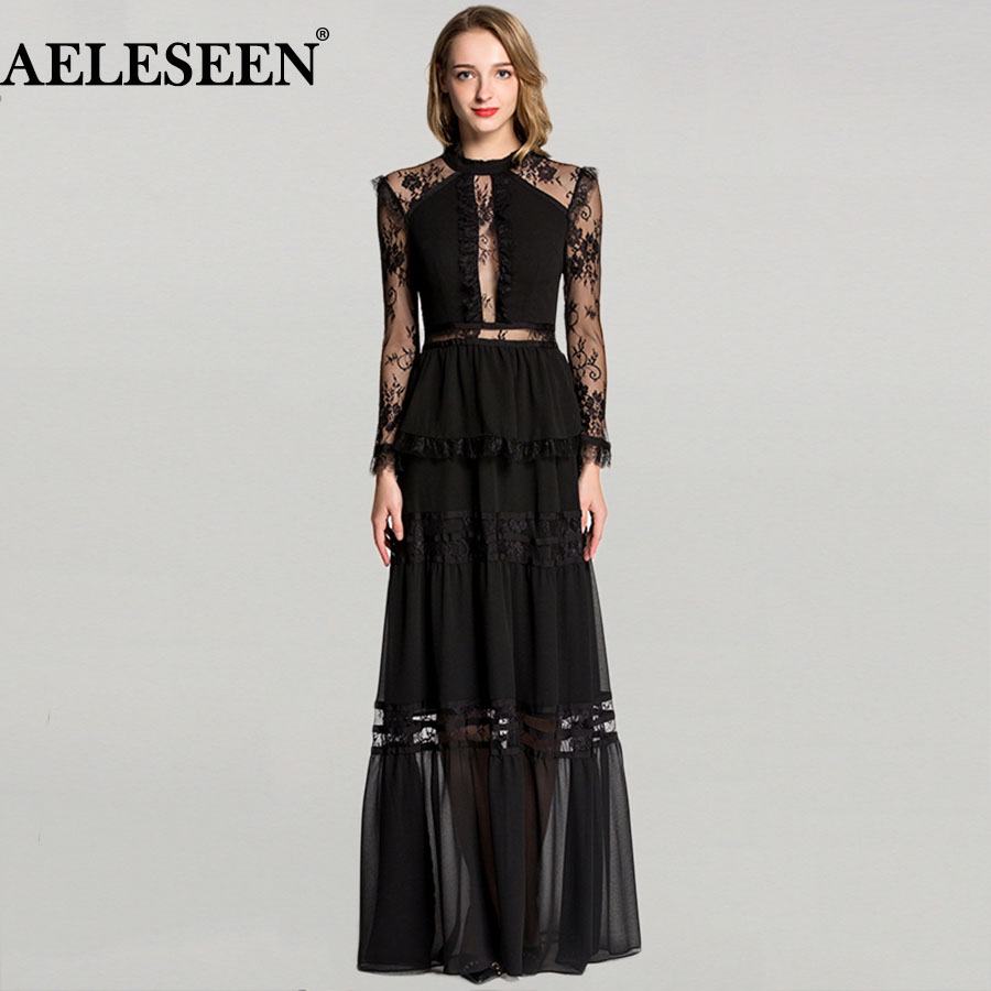 Ladies Lace Sexy Long Dresses Uk 2018 Full Sleeve New Arrival Winter Maxi Party dress Fashion