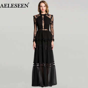 Ladies Lace Sexy Long Dresses Uk 2018 Full Sleeve New Arrival Winter Maxi Party dress Fashion Designer Runway Dress - DISCOUNT ITEM  23% OFF All Category