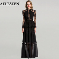Ladies Lace Sexy Long Dresses Uk 2018 Full Sleeve New Arrival Winter Maxi Party dress Fashion Designer Runway Dress