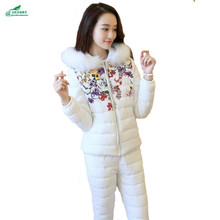 Зима новый корейский Тонкий хлопок tracksuitss костюм Женщины Большие размеры два комплекта утолщение для отдыха комплекты тренировочных костюмов женщин okxgnz