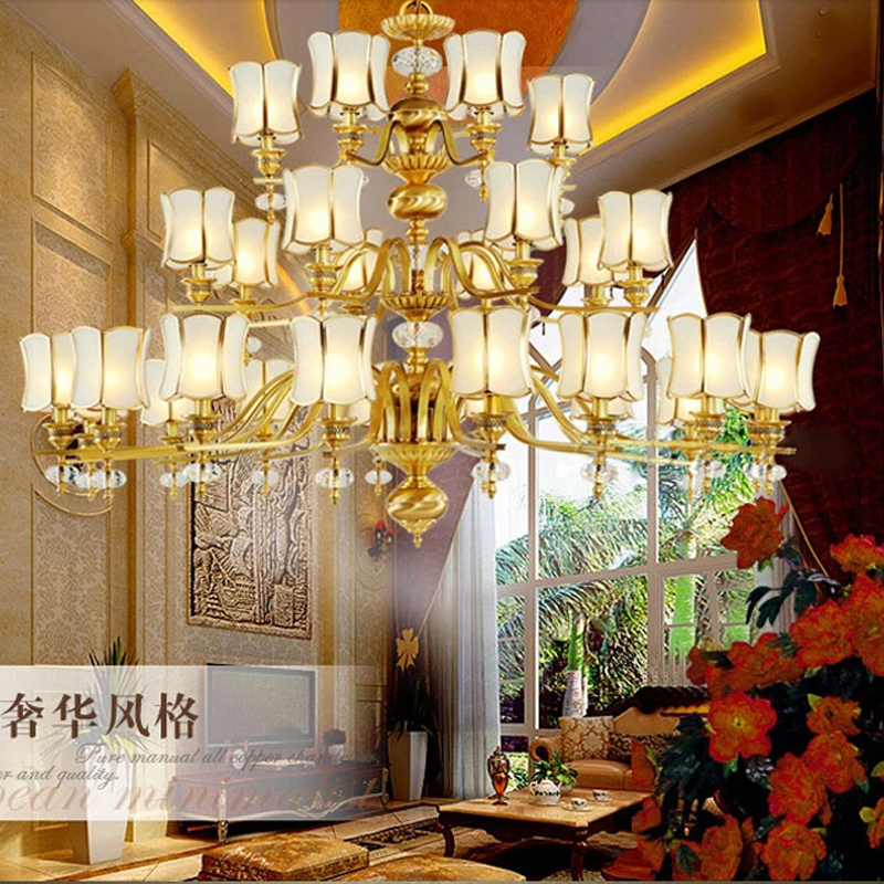 European Style All Copper Big Chandelier Villa Living Room Staircase Chandelier Light Non