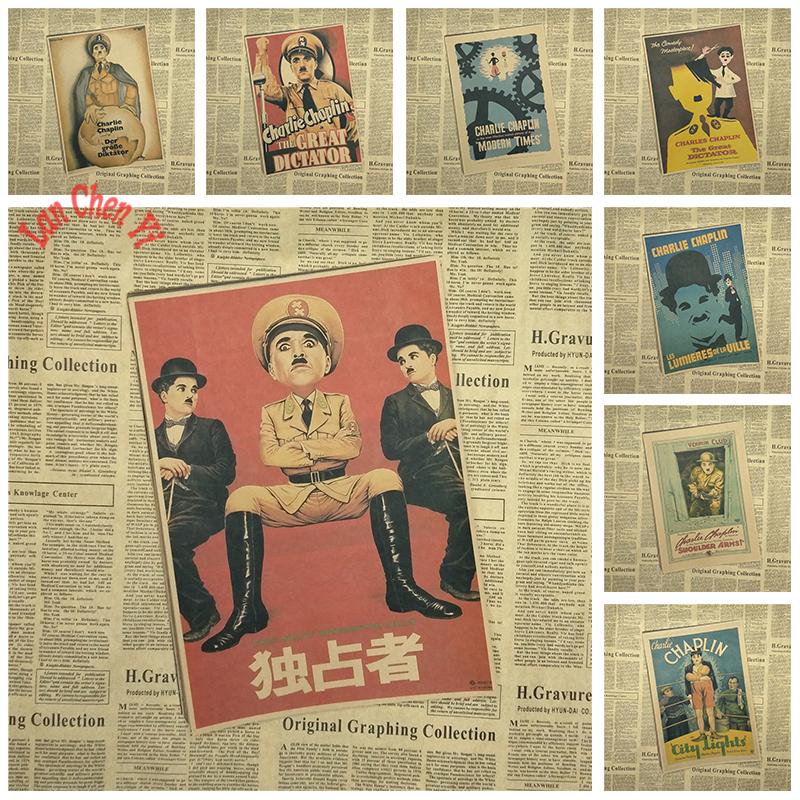 Vintage Nostalgische Klassische Film Kraftpapier Poster Charlie Chaplin Stadt Lichter Wohnzimmer Esszimmer Dekorative GemldeChina