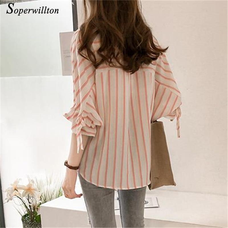 Summer Casual Chiffon Blouses Wome Striped Shirts feminina Blouse 2018 Office work Midi Sleeve Blusas Female M-4XL Blue Pink #E6