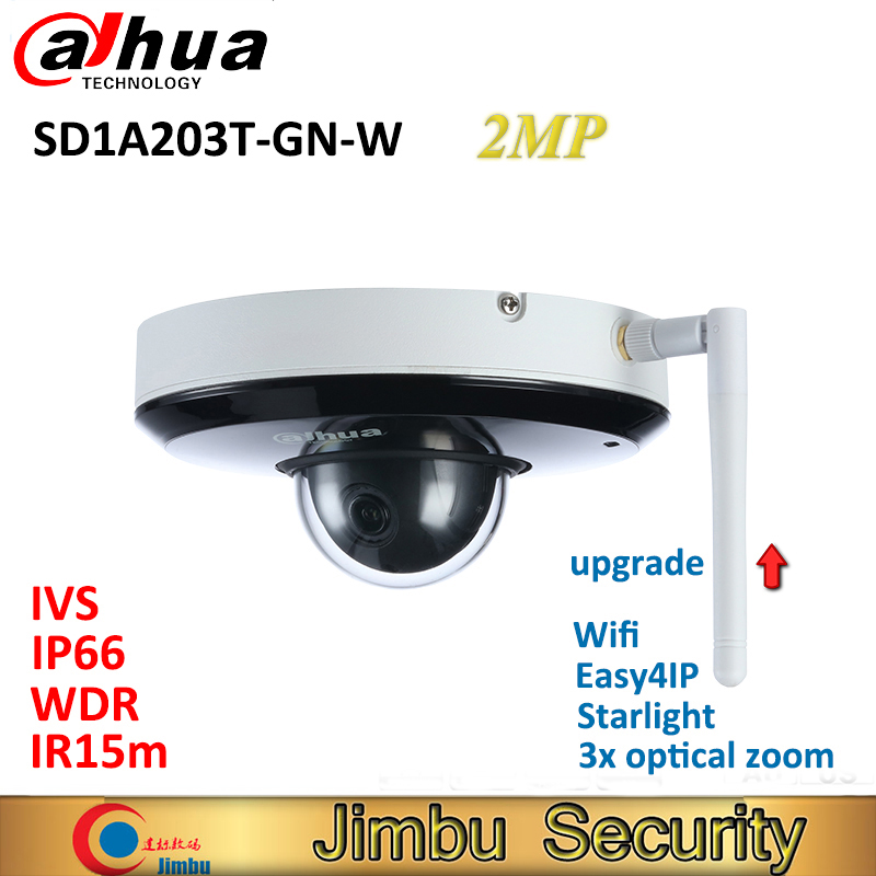 US $180 0 |Dahua PTZ IP 2MP wifi Camera SD1A203T GN W Starlight Support  Tripwire IVS face detection IR 15m IP66 WDR CCTV security camera-in