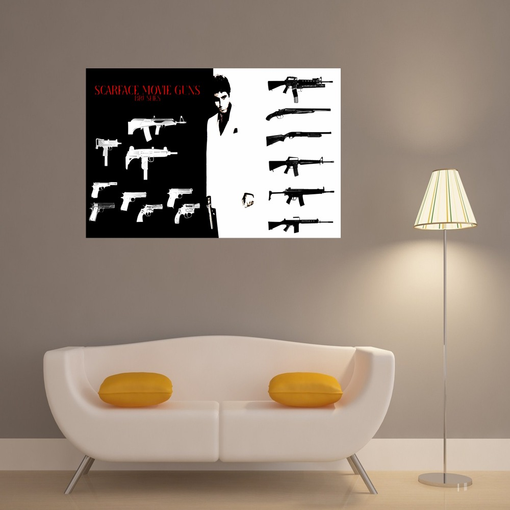 Scarface weapons vintage retro posters and prints home for 4 home decor