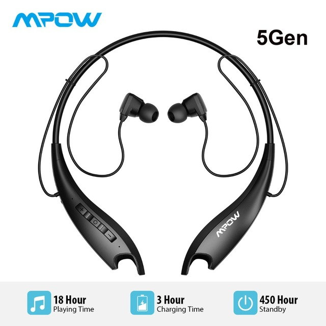 6d4a4ae7bd2 Mpow Jaws 5Gen Bluetooth 5.0 Headphones With Mic Crystal Clear 18H Ultra Long  Battery Life HiFi Stereo Sport Headphones Neckband