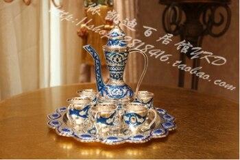8PCS/set rare antique silver alloy metal wine set wine jar cup tray drinkware table decoration wine accessories bar JJ013