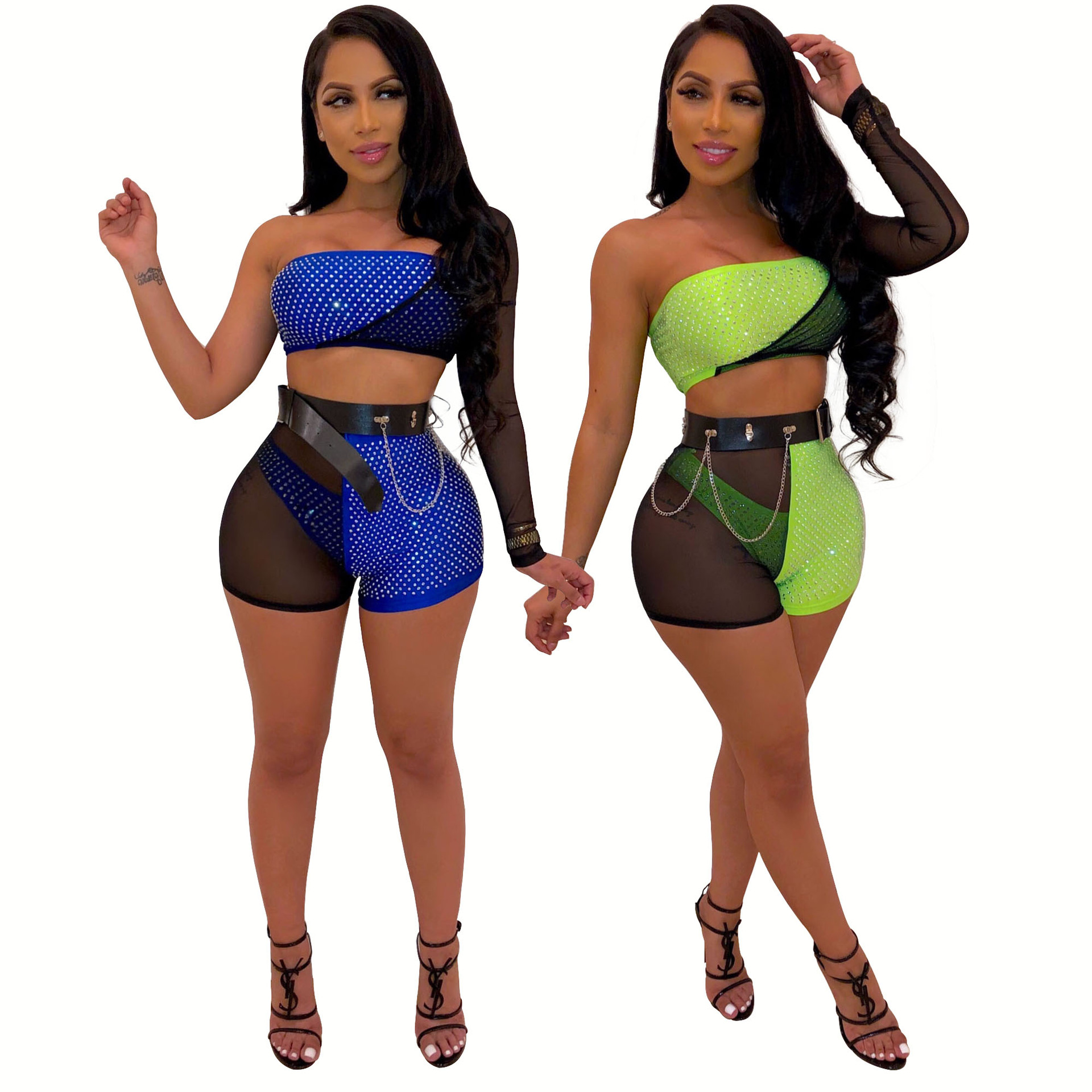 2019 Two-Piece Set Sexy Mesh Hot Drill Unilateral Sleeve Wrap Shorts Clothes Ladies Tracksuit