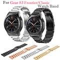 Pulseira de luxo cinta de aço inoxidável de 22mm para samsung gear s3 fronteira/classic smart watch band ligação pulseira ouro negro de metal