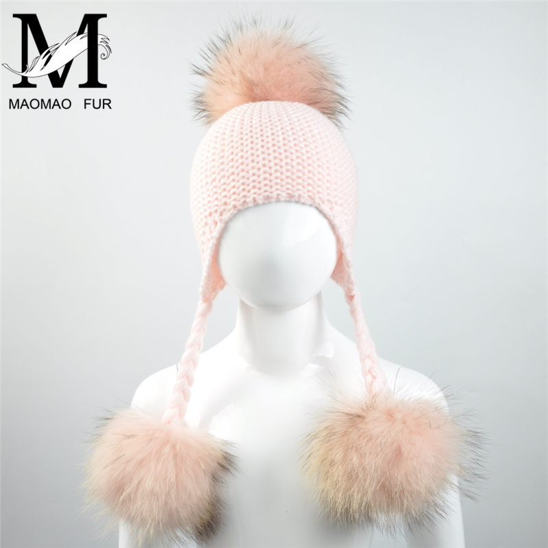 2017 Baby Winter Real Fur Hats For Children Girls Natural Fur Pompom Beanie Cap Kids Raccoon Fur Pom Pom Ball Crochet Baby Hats