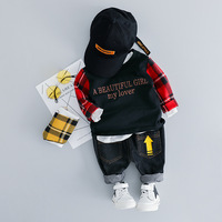 2019 Toddler Boy Clothes Printed Hoodie+Black Jeans 2pcs Brand Boys Outfits 0 3T Casual Conjunto Infantil Fashion Kids Tracksuit