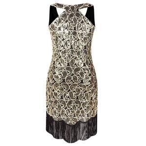 Image 2 - 여자 1920 년대 스팽글 페이즐리 무늬 민소매 레이서 백 플래퍼 블랙 골드 드레스 섹시한 프린지 그레이트 개츠비 파티 드레스