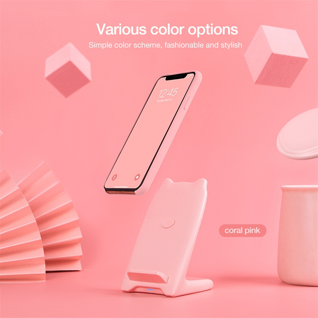 NEW Fashion Fast Wireless Charger Cute Pink Girl Vertical Holder For IPhone X/XS/XR/XS Max/8/8 Plus Birthday Holiday Gift