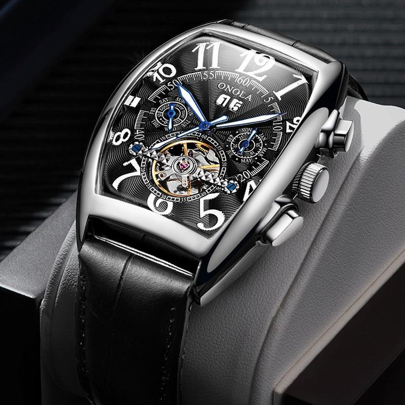 ONOLA Merk Automatische Mechanische Mens Horloges 2019 Fashion Business Unieke Charme Lederen Riem hoogwaardige Gift Horloge mannen met DOOS-in Mechanische Horloges van Horloges op  Groep 1