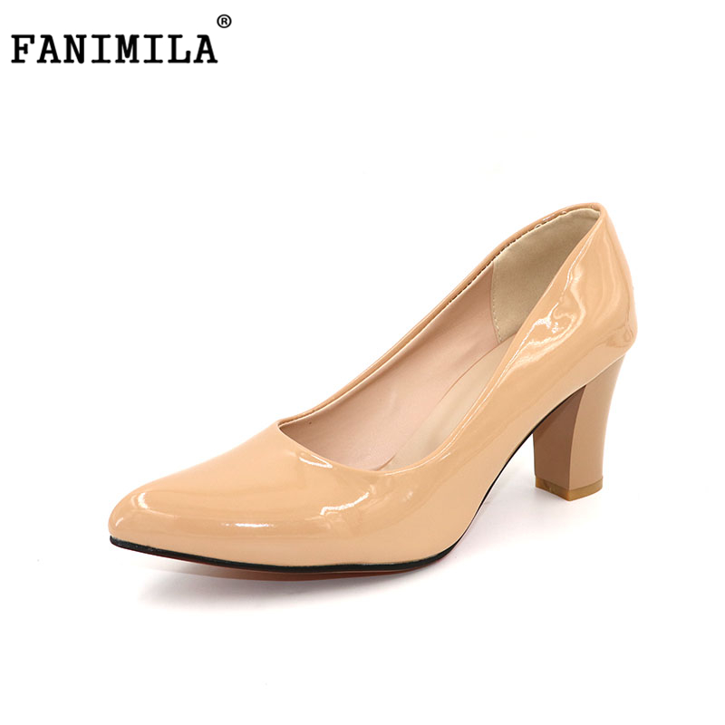 FANIMILA Size 31-47 Women's Thick High Heel Shoes Women Patent Leather Heeled Pumps Office Ladies Pointed Toe Heel Footwear