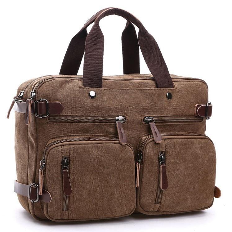 Canvas Laptop Handbag Men Male Leather Briefcase For School Travel Suitcase Messenger Shoulder Handbag Large Casual Business