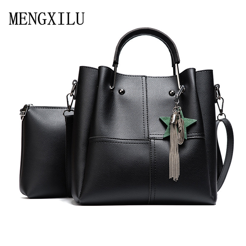 Women 2 pcs/set Handbags Female Tote Bag Tassel Women Solid Shoulder Bags Women Messenger Bag PU Leather Handbag Composite Bag jooz brand luxury belts solid pu leather women handbag 3 pcs composite bags set female shoulder crossbody bag lady purse clutch