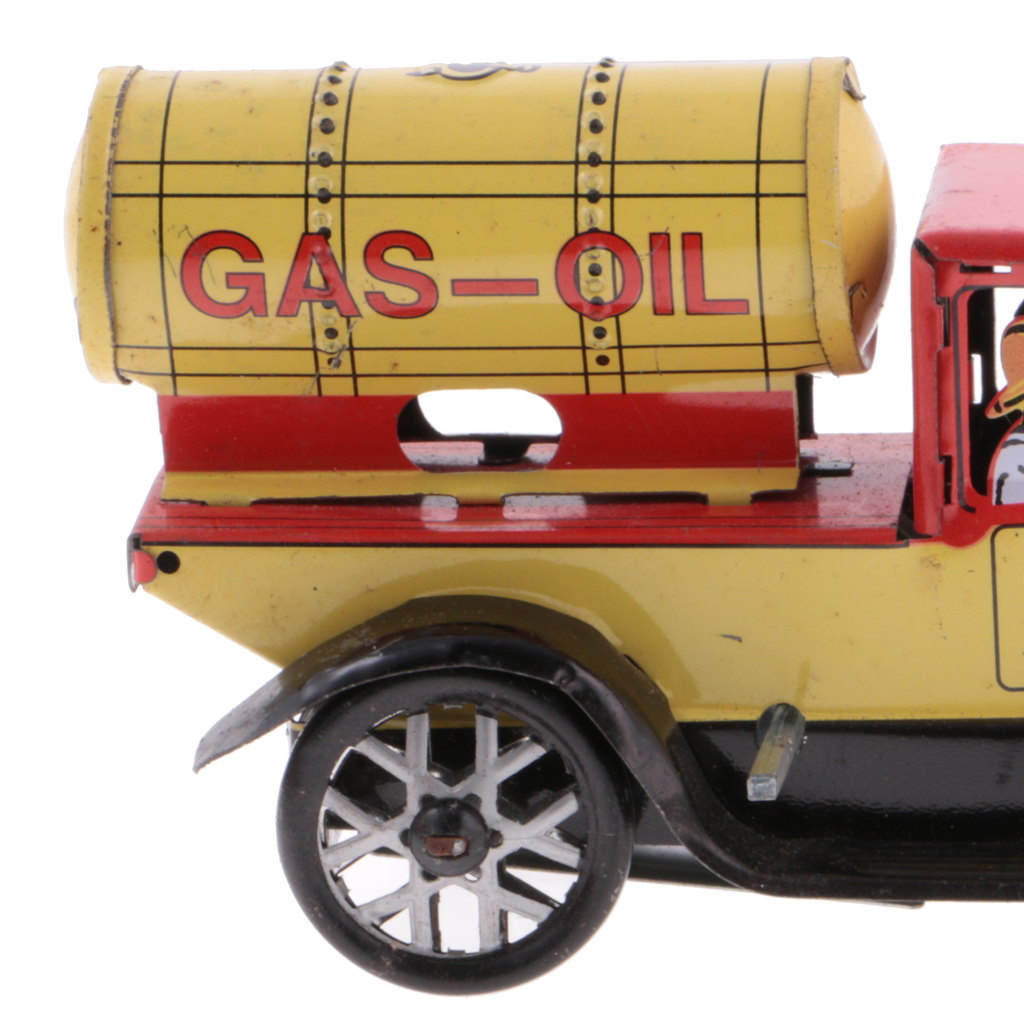 magideal classic gas oil truck tin toy collectible clockwork wind up