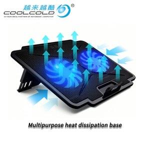 Image 1 - Laptop Koeler Met 2 Fans 2 Usb poorten Led Licht En Notebook Cooling Pad Voor 15.6 17 18 19 Inch computer Stand Verstelbare