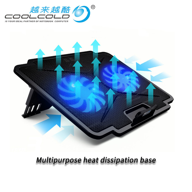 Laptop Koeler Met 2 Fans 2 Usb poorten Led Licht En Notebook Cooling Pad Voor 15.6 17 18 19 Inch computer Stand Verstelbare