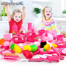 Abbyfrank 46pcs Pretend Play Pink Kitchen Baby Kitchen Food For Doll Miniature Vegetable Fruit Cooking Toy Kettle Cutting Knife