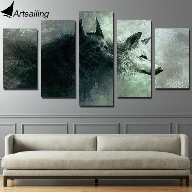 Hd 5 Piece Printed Animal Wolf Art Canvas Modular Paintings Bedroom