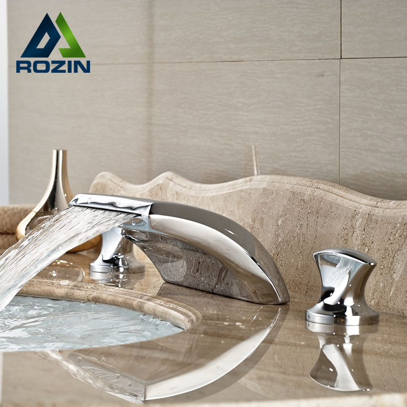 Modern Widespread Deck Mounted Basin Faucet Dual Handle Waterfall Mixer Taps in Chrome