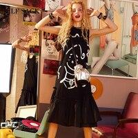 ELF SACK Women Black Prints Sleeveless Dresses Female O Neck Casual Dresses Vintage Retro Loose Hot Comic Printing Dress
