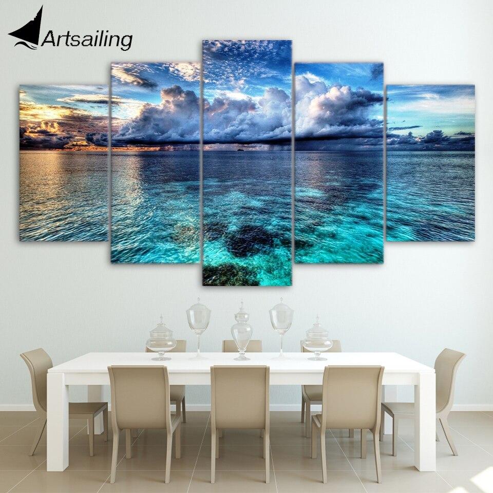 Hd Imprimé 5 Pièces Toile Art Paysage Marin Affiche Nuages