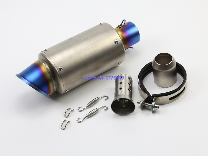 51mm Inlet Motorbike Exhaust Muffler Pipe with DB Killer Carbon Fiber and Stainless Steel Motorcycle Exhaust Pipe Muffler Escape