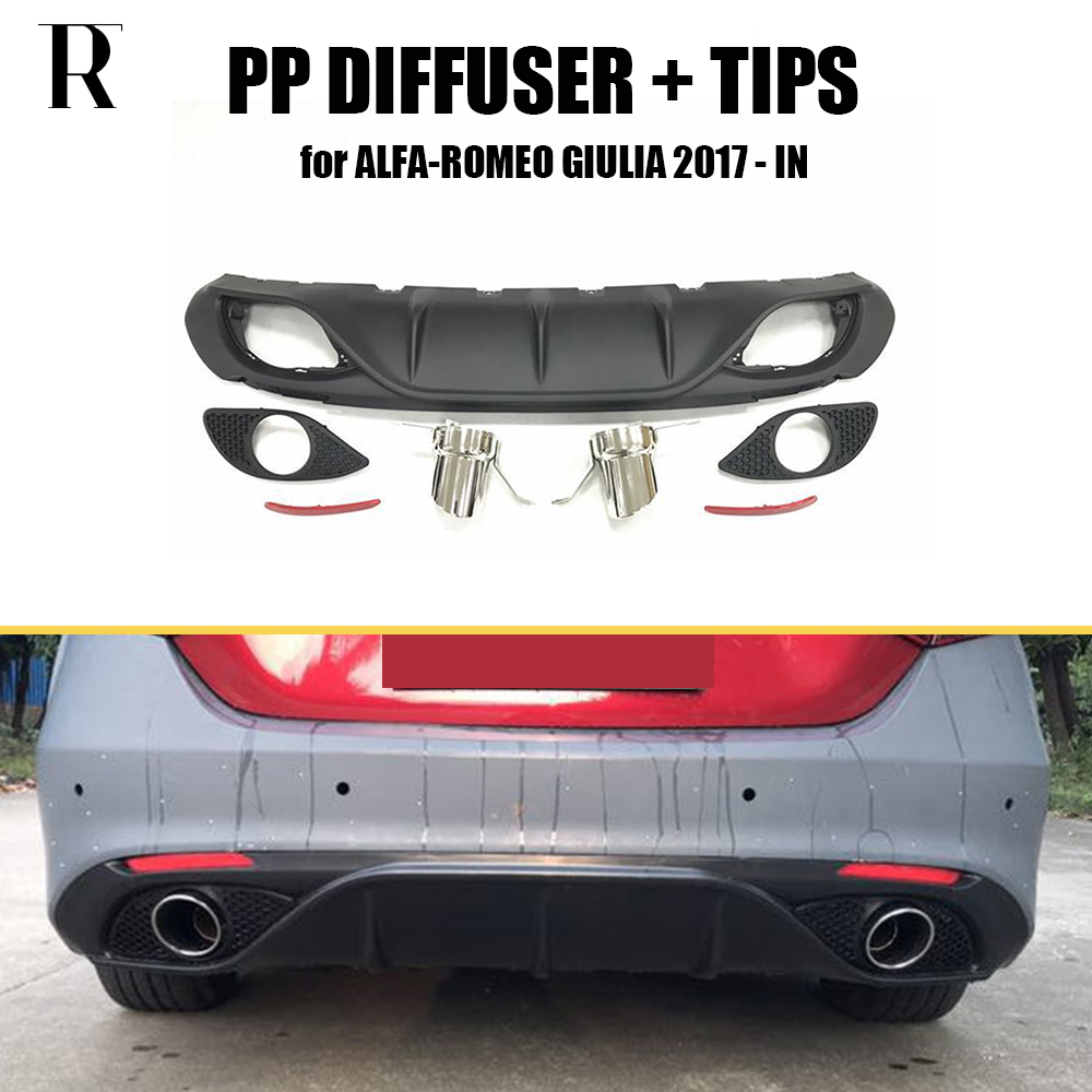 Giulia Change to 2 Outlet PP Rear Bumper Diffuser with Exhaust Tips for font b Alfa