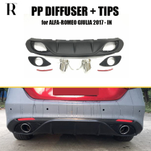 Giulia Change to 2 Outlet PP Rear Bumper Diffuser with Exhaust Tips for Alfa Romeo Giulia 2016 2017