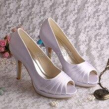 Wedopus Изящные Свадебные Туфли Фиолетовые Туфли Каблуки Платформы Женщин Насосы с Открытым Мыском Dropship