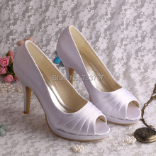 Wedopusสง่างามรองเท้าแต่งงานสีม่วงรองเท้าส้นแพลตฟอร์มผู้หญิงปั๊มเปิดนิ้วเท้าDropship