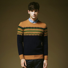 new sweater round neck sweater men hit color floral striped sweater European and American fashion brand men's sweater