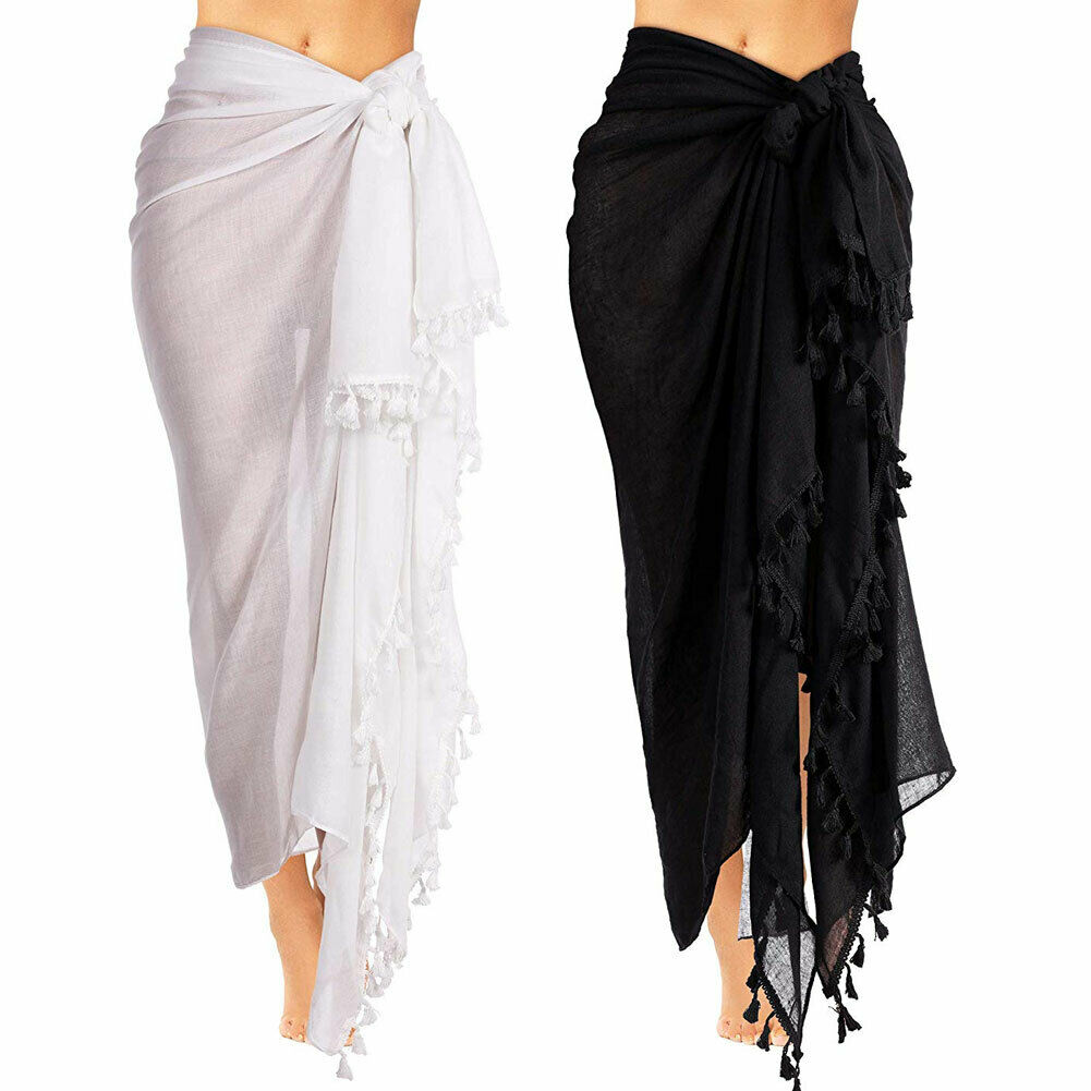 Fashion Women Summer Swimwear Bikini Cover Up Beach Maxi Long Wrap Skirt Sarong Dress Black And White